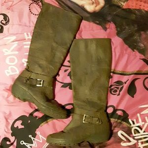 Aerosols womens 6.5 tall brown leather boots